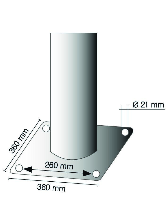Barrier post in steel, galv., coated white, 3 red stripes, dm 273, H 1500 mm, for use w anchor bolts - 2