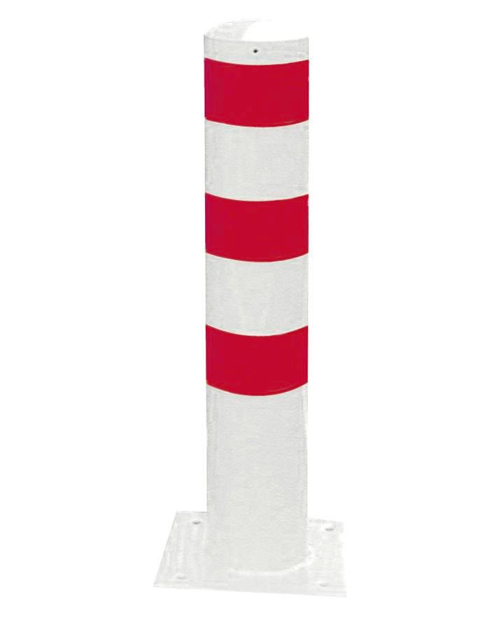 Barrier post in steel, galv., coated white, 3 red stripes, dm 273, H 1500 mm, for use w anchor bolts
