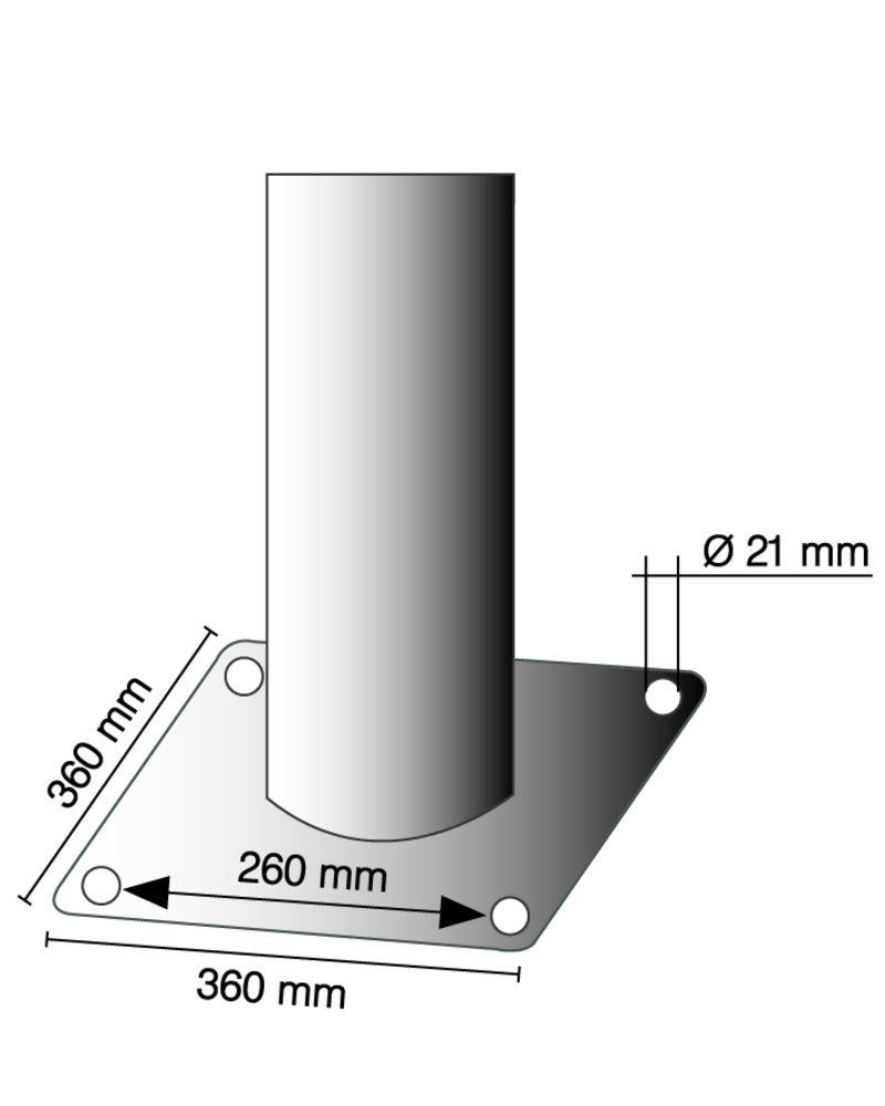 Barrier post in steel, hot dip galvanised, dm 273, H 1500 mm, for use with anchor bolts