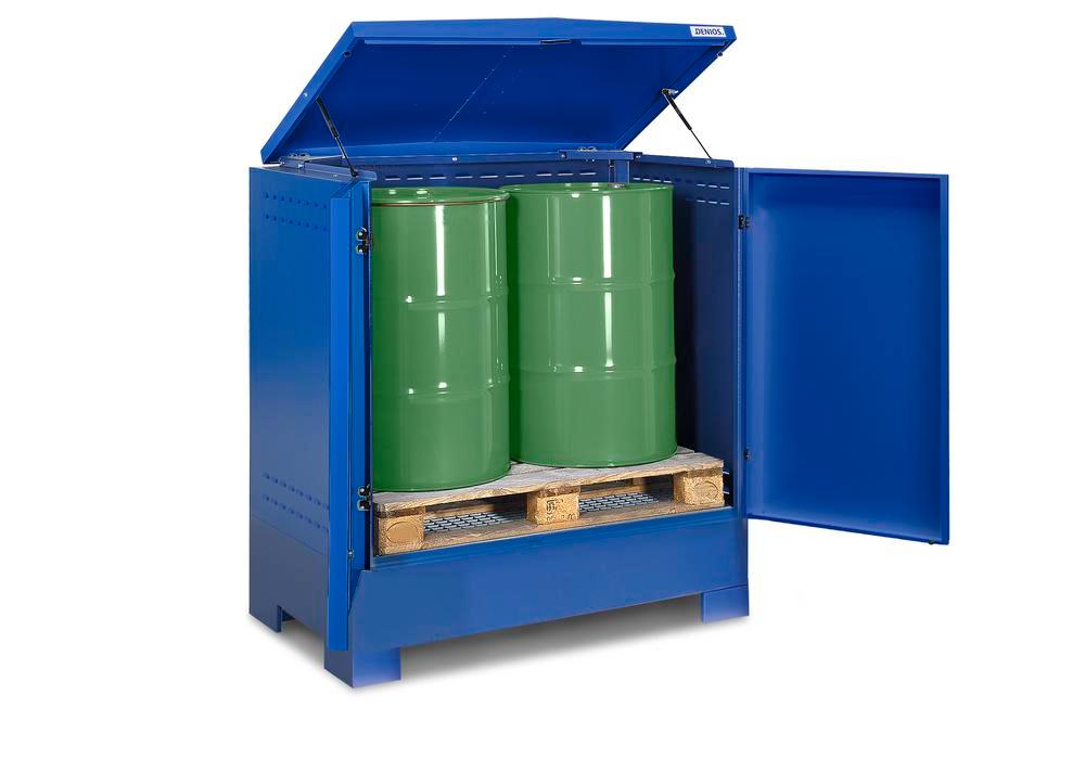 Cubos hazardous materials depot, for up to 2 x 205 litre drums, blue painted, Type L-2.2 - 1