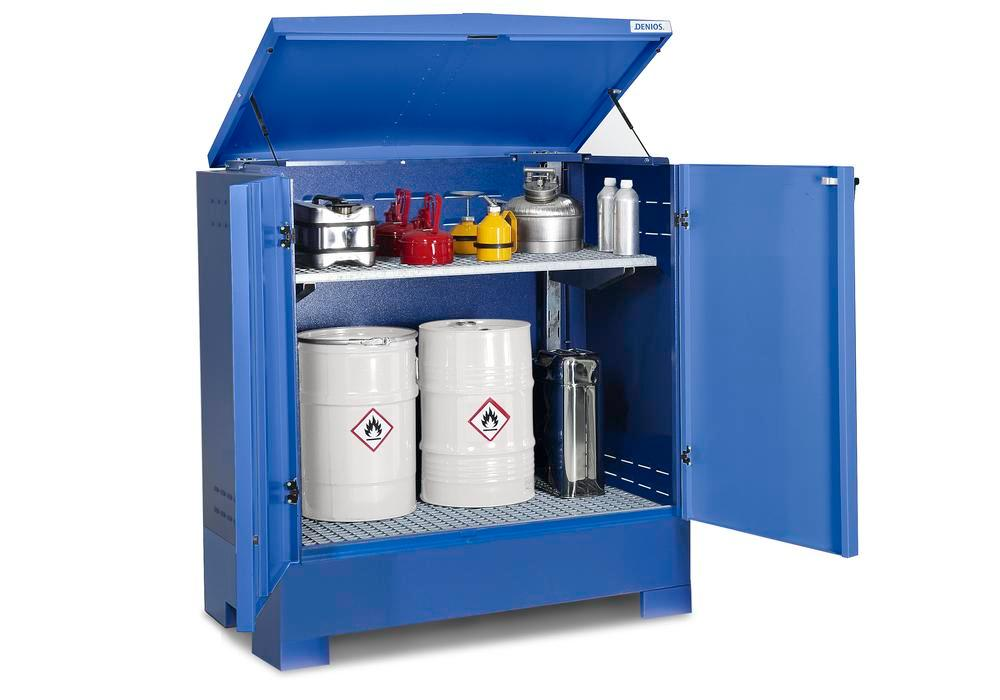 Cubos hazardous materials depot, for up to 2 x 205 litre drums, blue painted, Type L-2.2 - 3