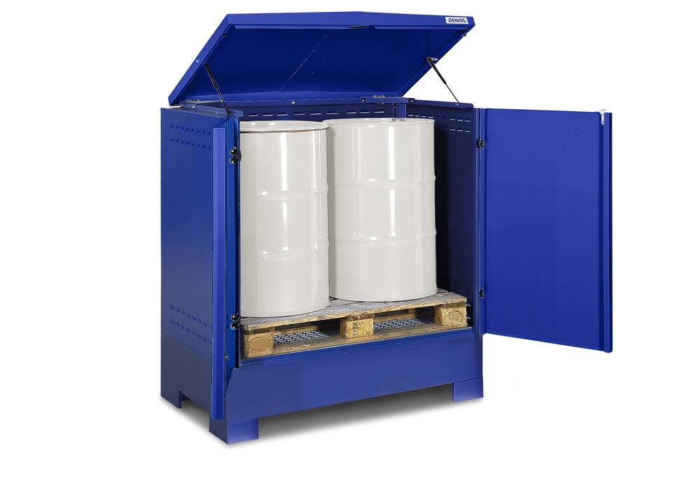 Cubos hazardous materials depot, for up to 2 x 205 litre drums, blue painted, Type L-2.2 - 5