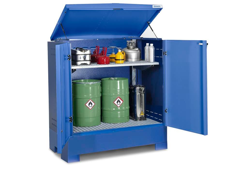 Cubos hazardous materials depot, for up to 2 x 205 litre drums, blue painted, Type L-2.2