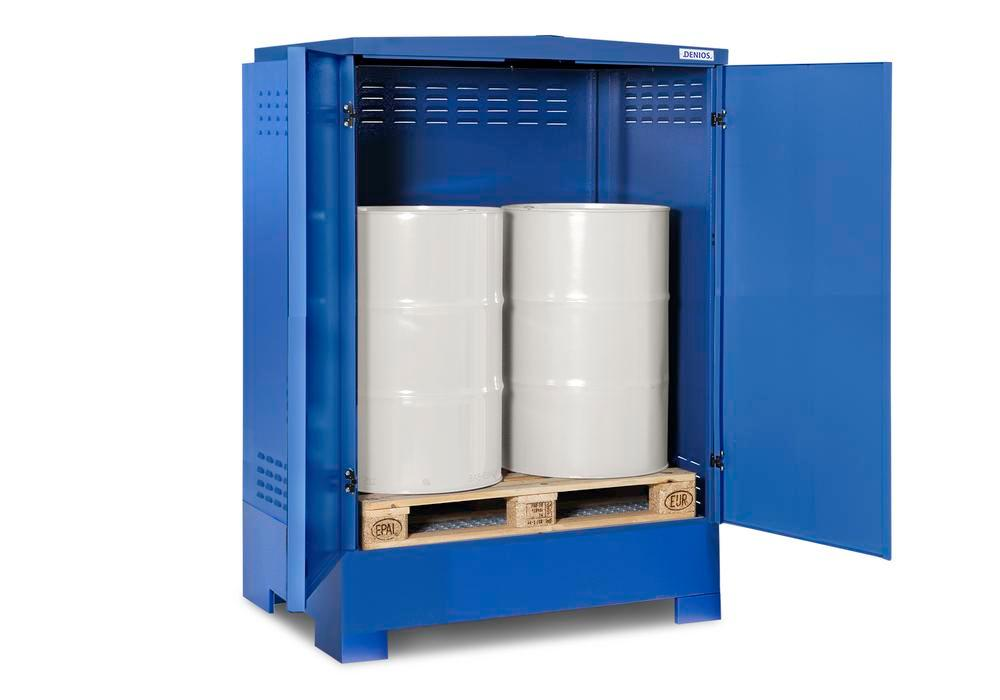 Cubos hazardous materials depot, for up to 2 x 205 litre drums, blue painted, Type XL-2.2 - 3