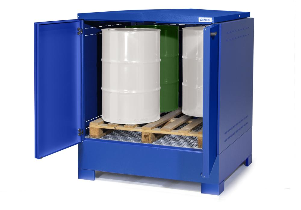 Cubos hazardous materials depot, for up to 4 x 205 litre drums, painted, with XXL-sump, Type L-4.4