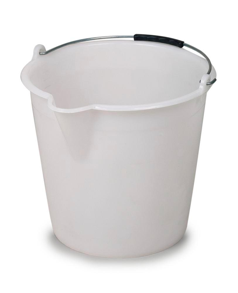 Plastic bucket, made from polyethylene, 12 litres capacity, white