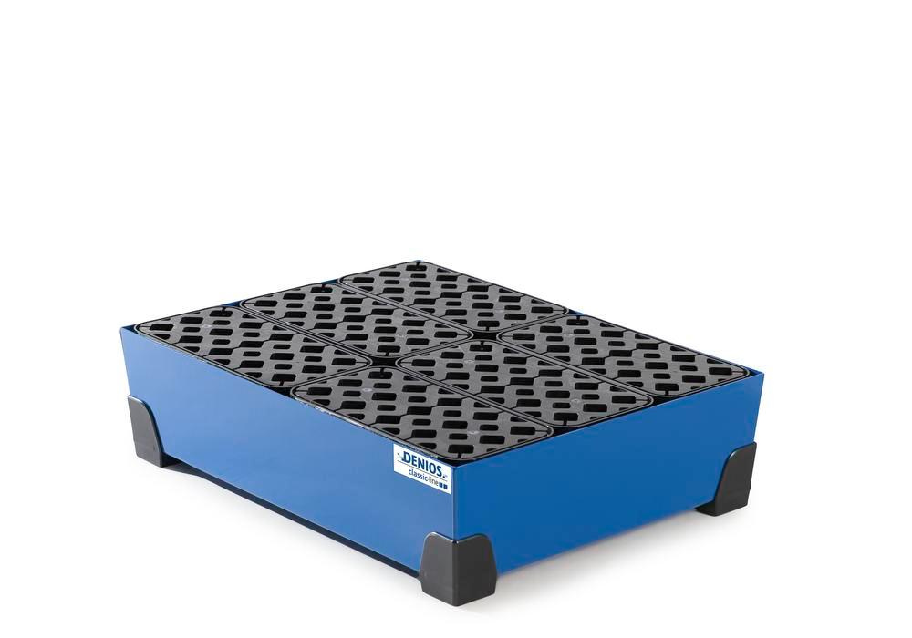Spill tray for small containers classic-line in steel, painted, with PE grid, 65 litre, 774x584x200