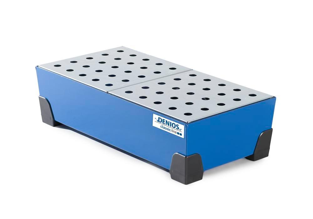 Spill tray for small containers classic-line, steel, paint, w galv. perf. sh, 40 litre, 774x392x200