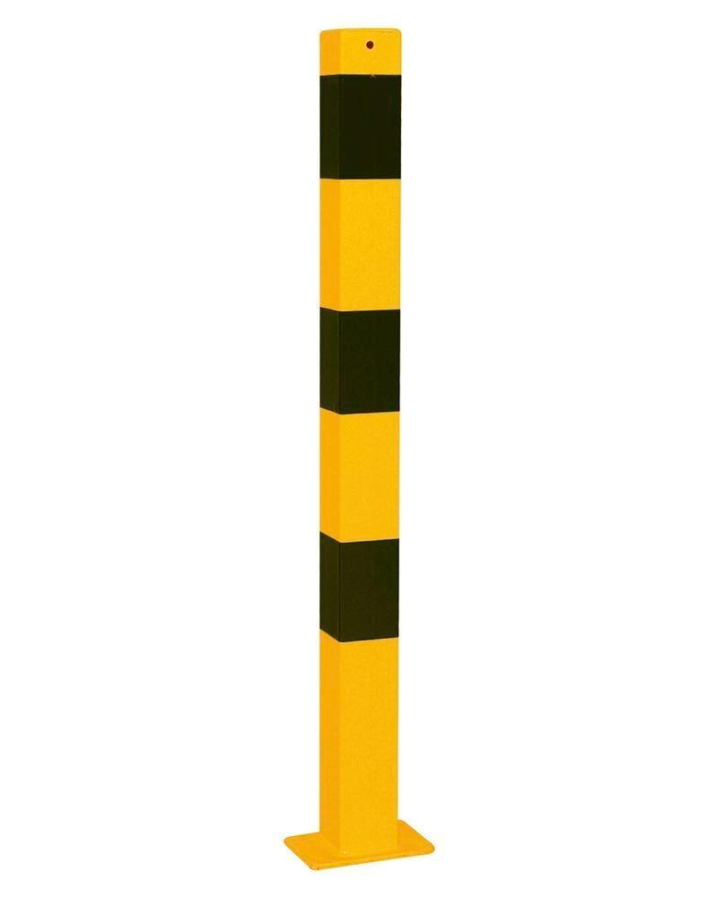Tilting barrier post steel, galv., painted yellow, black stripes, 70 x 70 mm, height 1000 mm