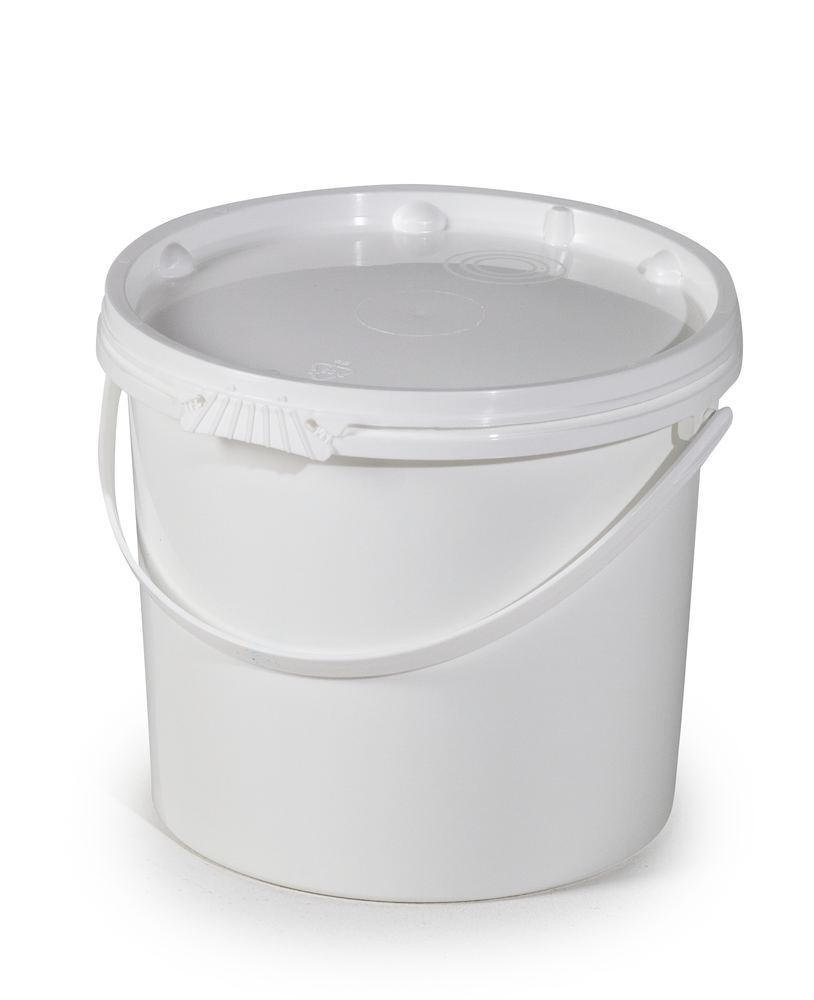 UN bucket in PP, 11 L, white with lid and plastic handle, Pack = 10 pieces
