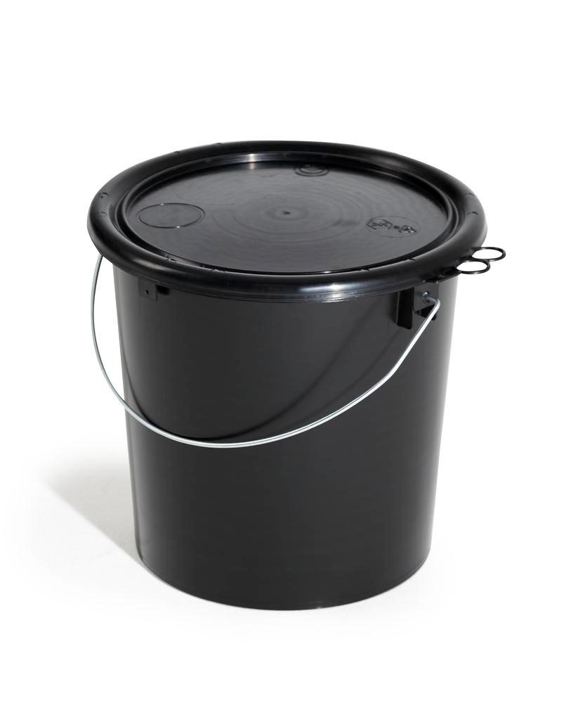 UN bucket in PP, 11 litre, black, conductive, with lid