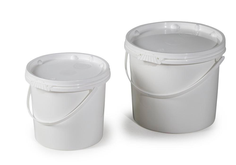 UN bucket in PP, 5.5 L, white with lid and plastic handle, Pack = 10 pieces
