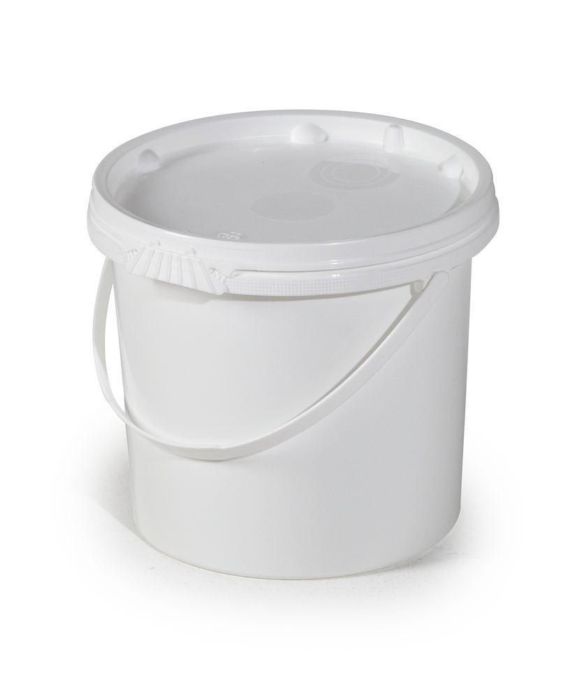 UN bucket in PP, 5.5 litre, white with lid and plastic handle - 1
