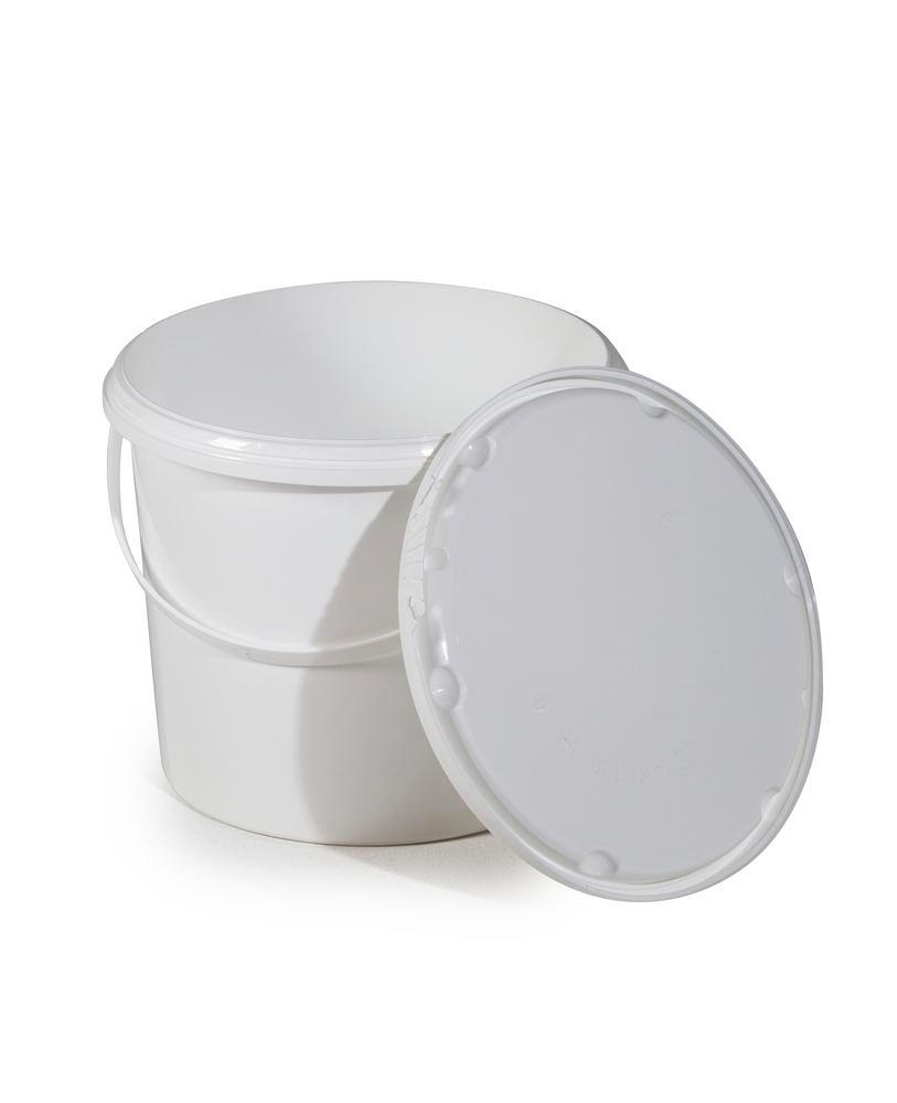UN bucket in PP, 5.5 litre, white with lid and plastic handle