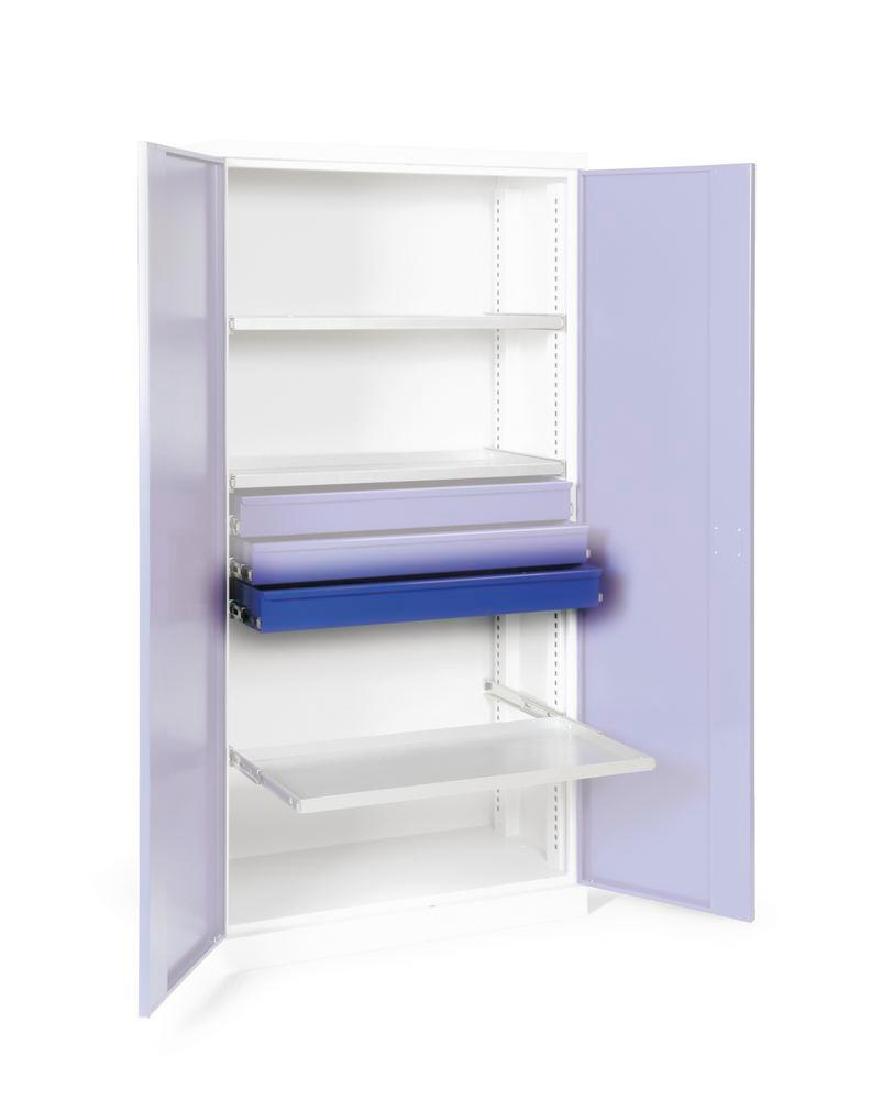 Additional drawer galv., with bearing mounted pull-outs for double door equipment cabinet W 1000 mm