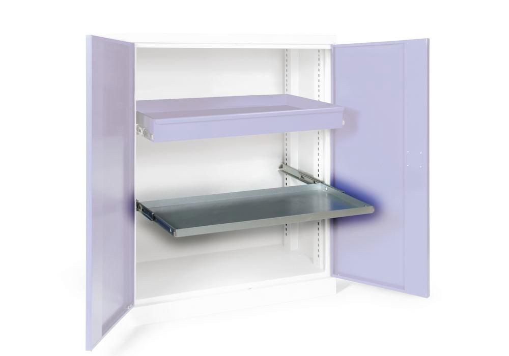 Additional shelf galv., with bearing mounted pull-outs for double door equipment cabinet W 1000 mm - 1