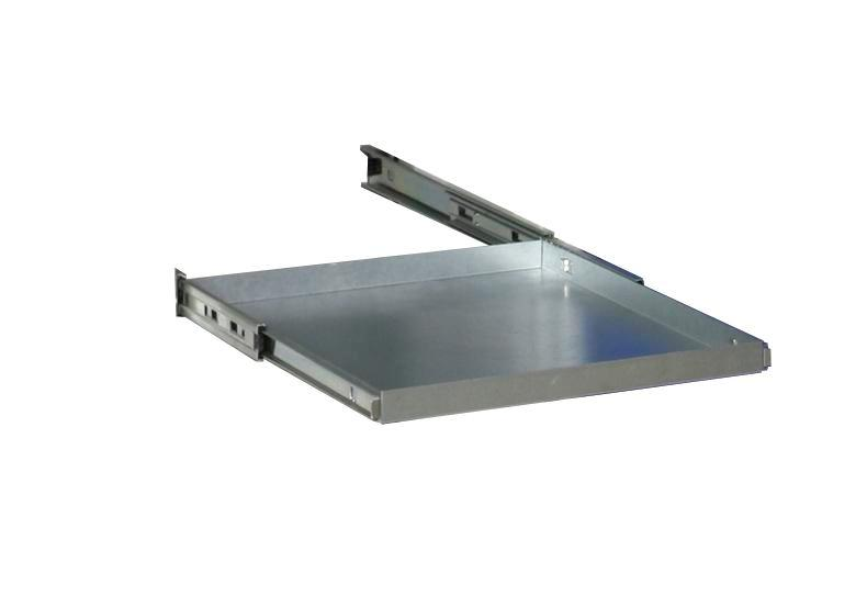 Additional shelf galv., with bearing mounted pull-outs for single door equipment cabinet W 500 mm