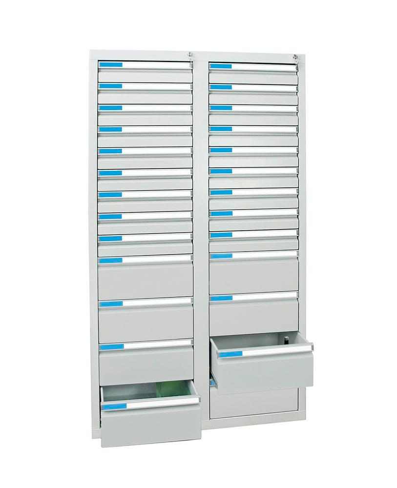 Drawer cabinet Esta with 26 drawers, grey, W 1000 mm, H 1800 mm