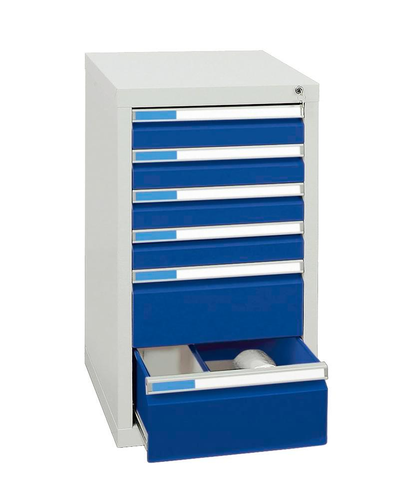 Drawer cabinet Esta with 6 drawers, grey/blue, grey, W 500 mm, H 900 mm