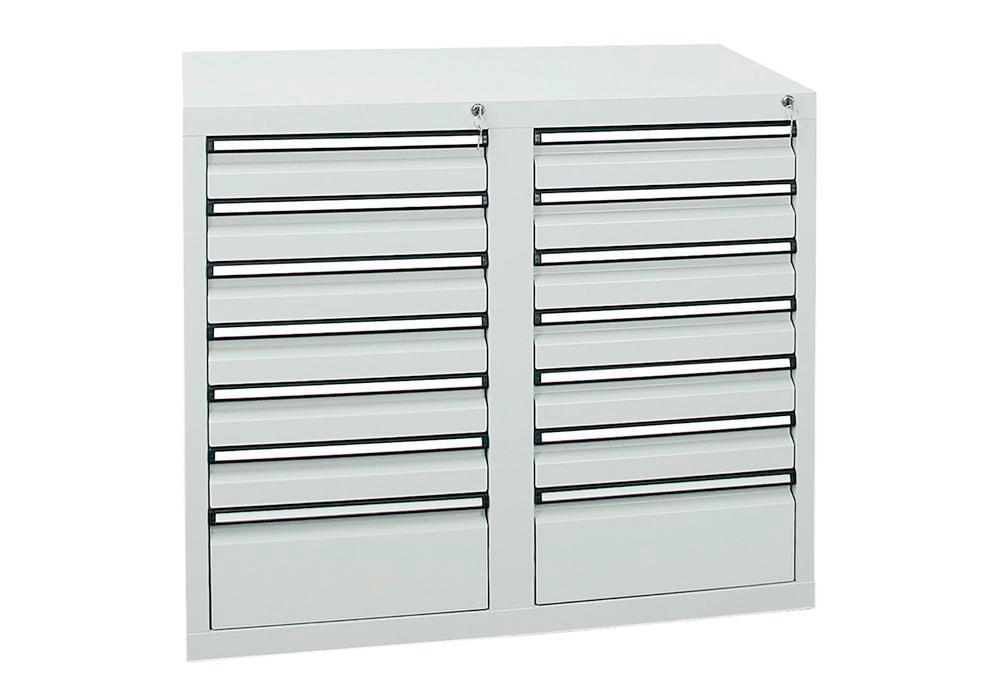 Drawer cabinet Model SDC 410, with 14 drawers, light grey, W 1000 mm, H 900 mm