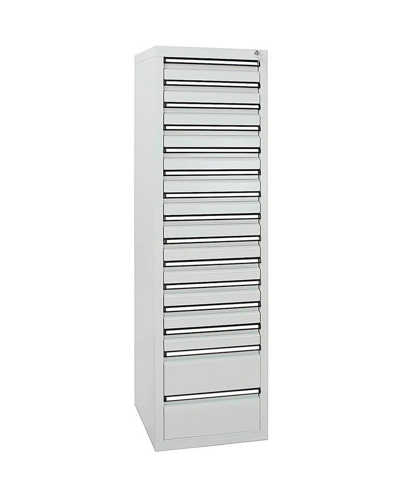 Drawer cabinet Model SDC 410, with 15 drawers, light grey, W 500 mm, H 1800 mm