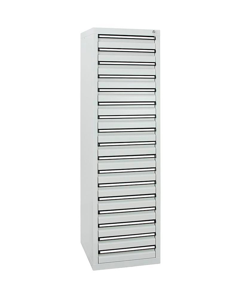 Drawer cabinet Model SDC 410, with 17 drawers, light grey, W 500 mm, H 1800 mm