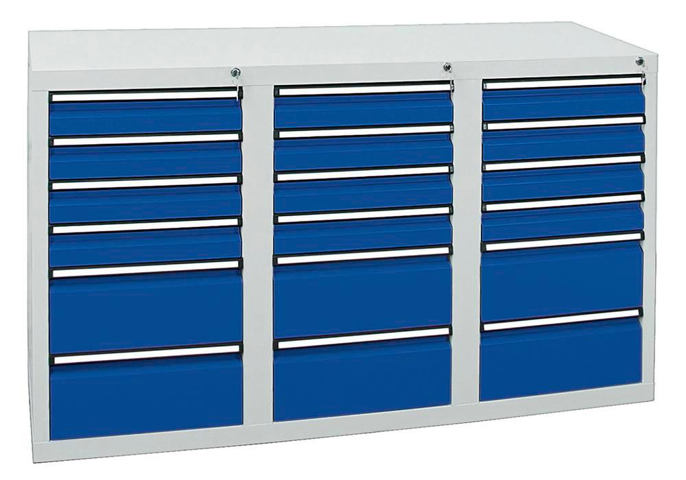 Drawer cabinet Model SDC 410, with 18 drawers, light grey/light blue, W 1500 mm, H 900 mm