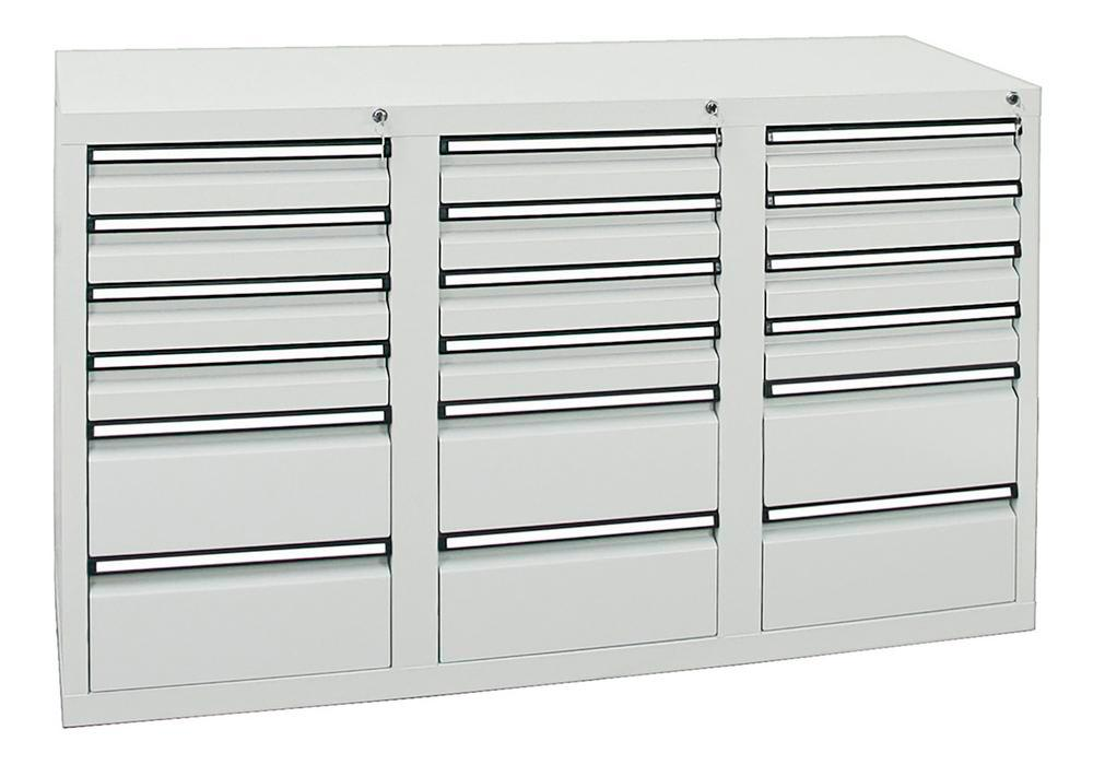 Drawer cabinet Model SDC 410, with 18 drawers, light grey, W 1500 mm, H 900 mm, H 900 mm