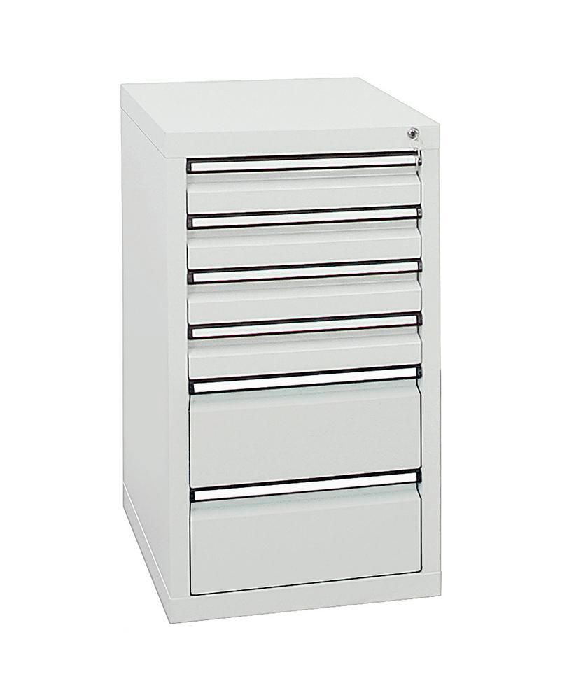 Drawer cabinet Model SDC 410, with 6 drawers, light grey, W 500 mm, H 900 mm