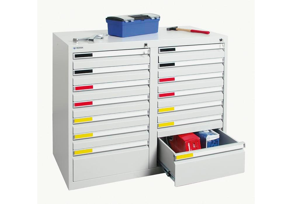 Drawer cabinet Movaflex 500, 14 drawers, light grey, W 1000 mm, H 900 mm