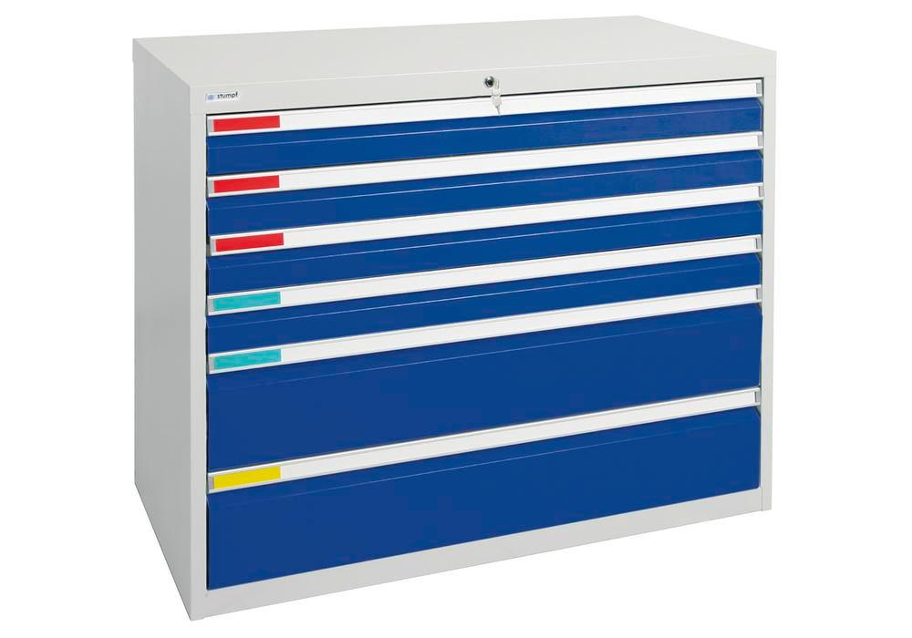 Drawer cabinet Movaflex 500, 6 drawers, light grey/gentian blue, W 1000 mm, H 900 mm