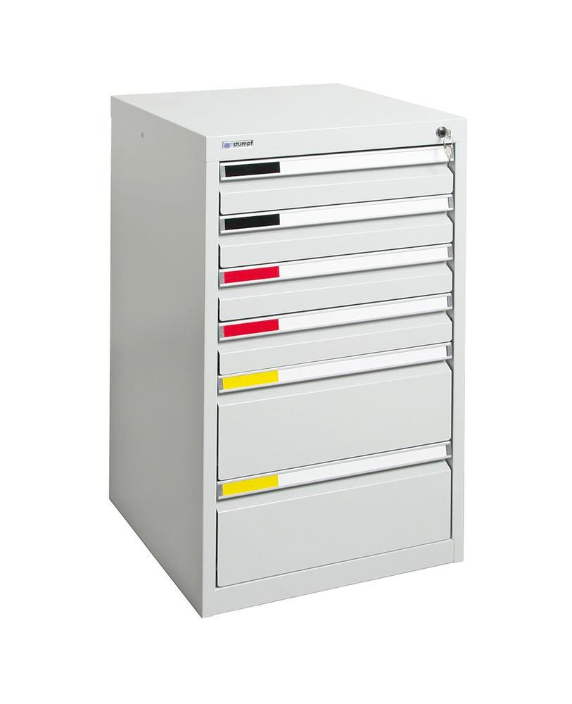 Drawer cabinet Movaflex 500, 6 drawers, light grey, W 500 mm, H 900 mm