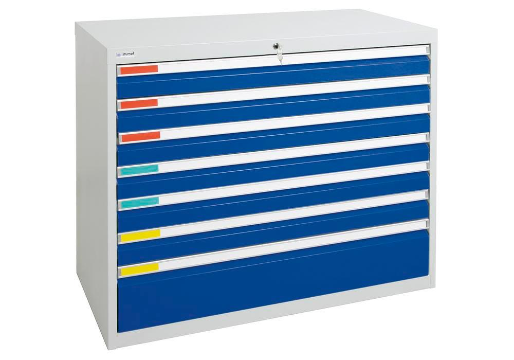 Drawer cabinet Movaflex 500, 7 drawers, light grey/gentian blue, W 1000 mm, H 900 mm