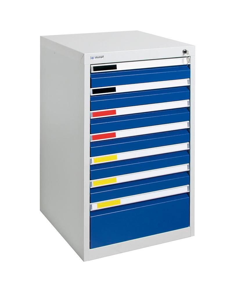 Drawer cabinet Movaflex 500, 7 drawers, light grey/gentian blue, W 500 mm, H 900 mm