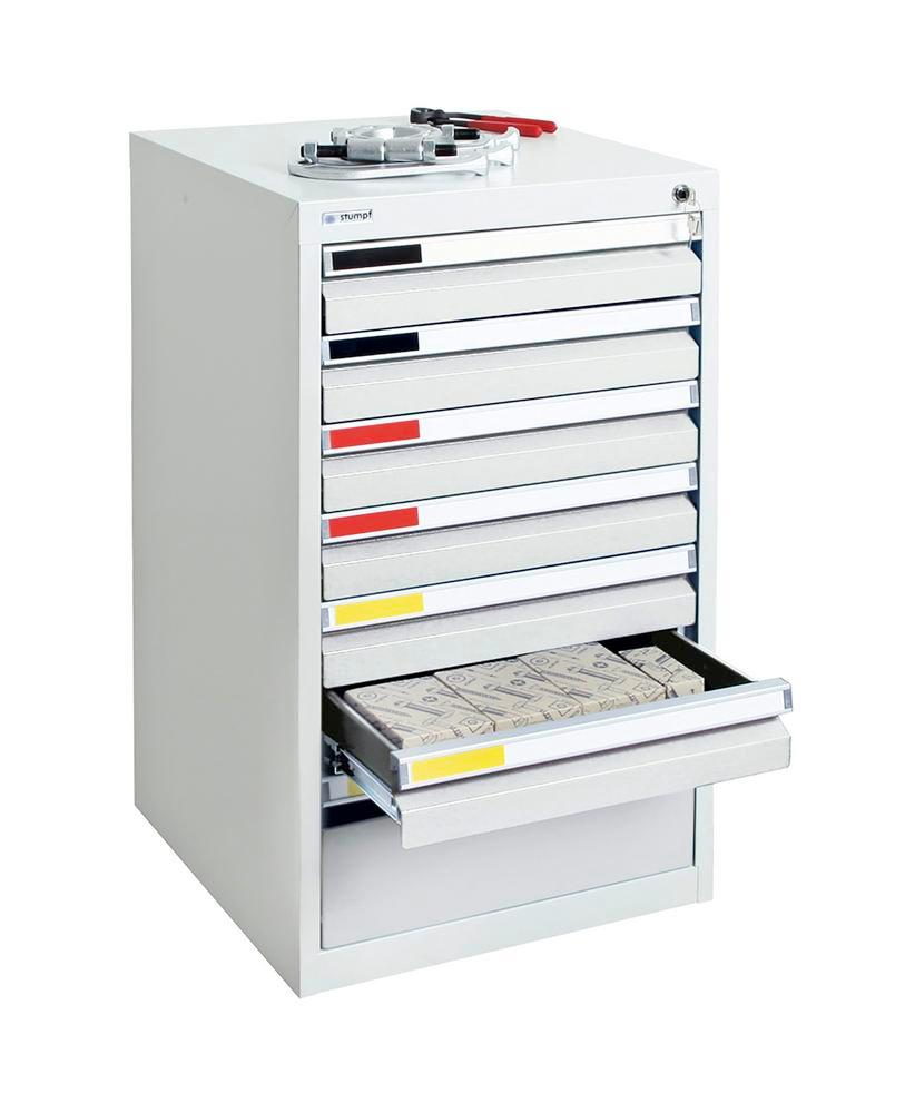 Drawer cabinet Movaflex 500, 7 drawers, light grey, W 500 mm, H 900 mm