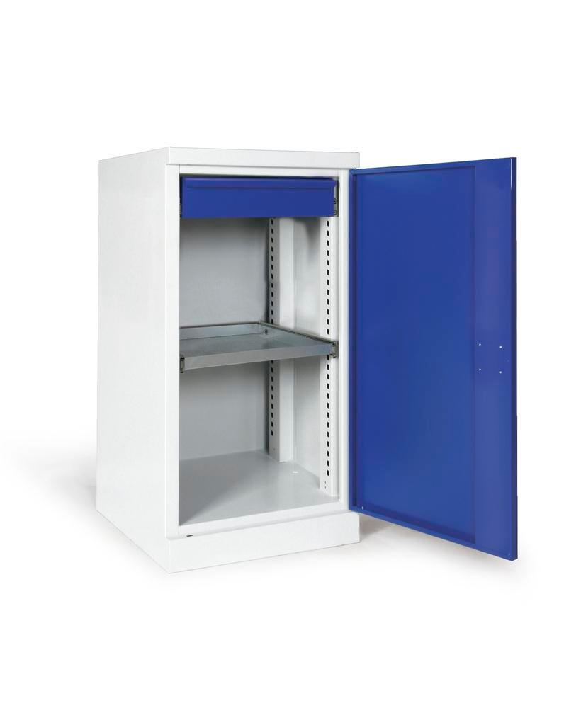 Equipment cabinet Ever-plus, body, doors grey/blue, 1 shelf, 1 drawer, width 500 mm