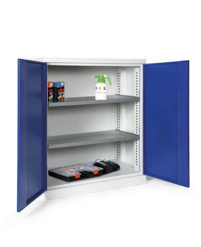 Equipment cabinet Ever-plus, body, doors grey/blue, 2 shelves, width 950 mm