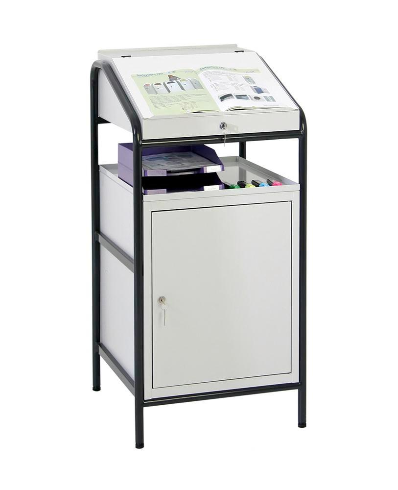 Light stationary standing desk, with 1 writing desk, 1 wing door unit