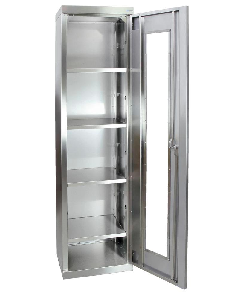 Multipurpose cabinet Multinox-Plus, st. steel, 4 shelves, view. window, W 450 mm, H 1800 mm, on base