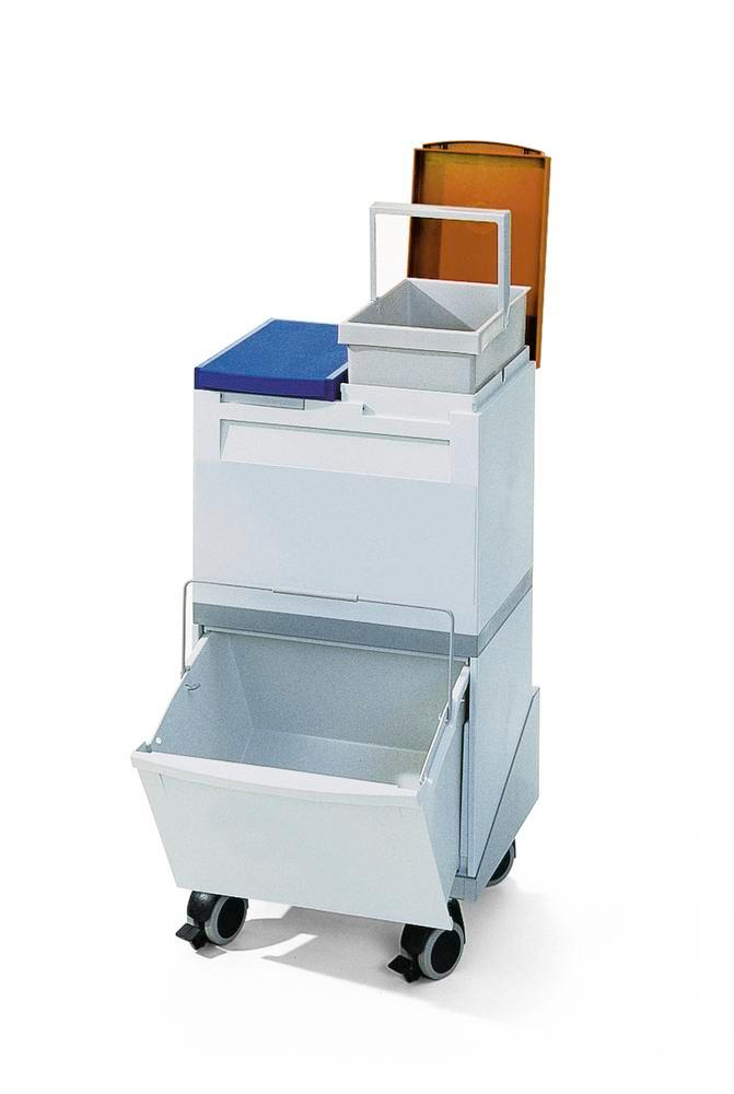 Recyclable materials coll. station consisting of 1 x 30 l and 2 x 15 l collecting boxes and trolley