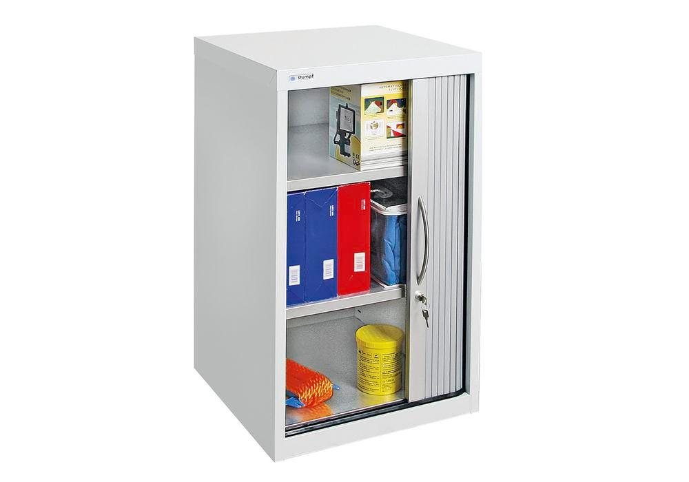 Roller shutter cabinet Esta, 2 shelves, body light grey, shutter white alu, W 500 mm, H 900 mm