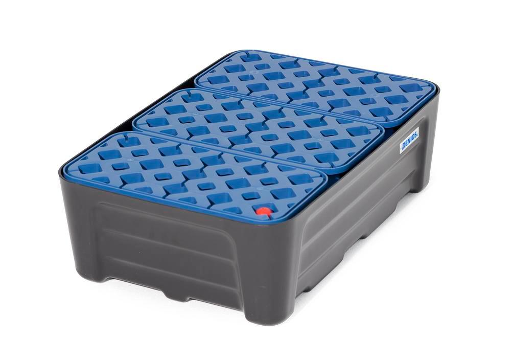 Spill tray for small containers pro-line in polyethylene (PE) with PE grid, 30 litres, 592x400x185 - 4