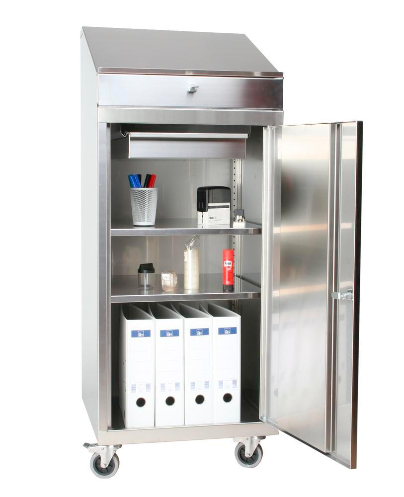St steel tools cabinet W 500, D 500, H 1270 mm with desk