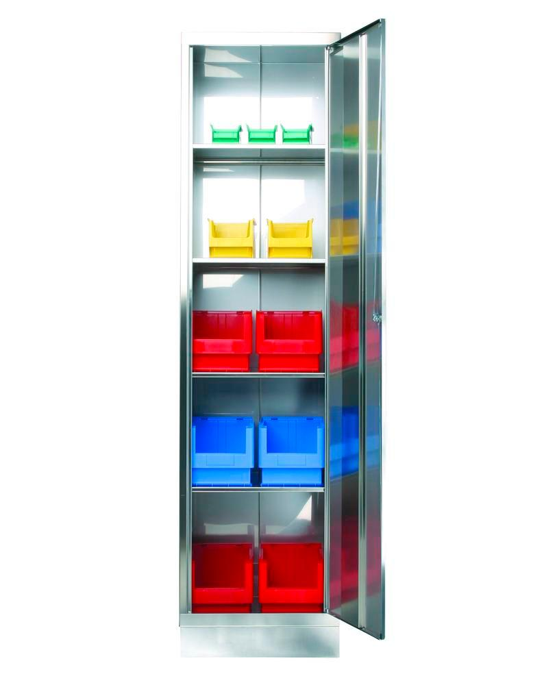 Stainless steel cabinet with 4 shelves, W 500, D 400, H 1950 mm