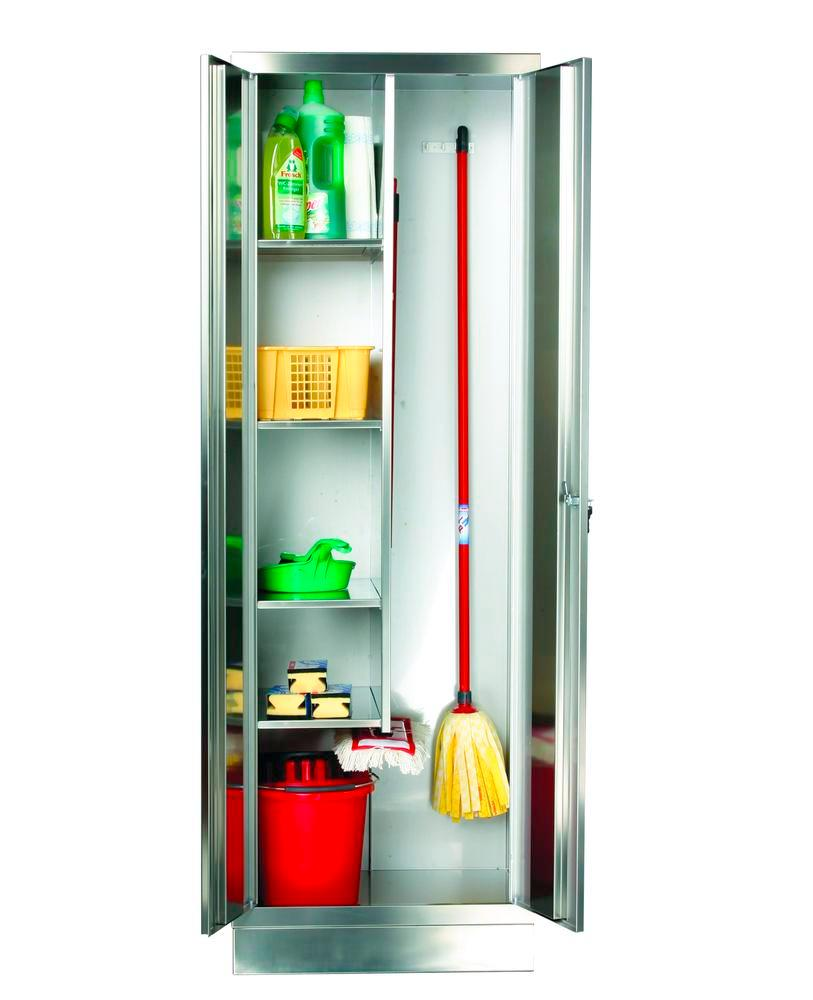 Stainless steel cleaning product cabinet with short partition, W 600, D 500m, H 1800 mm