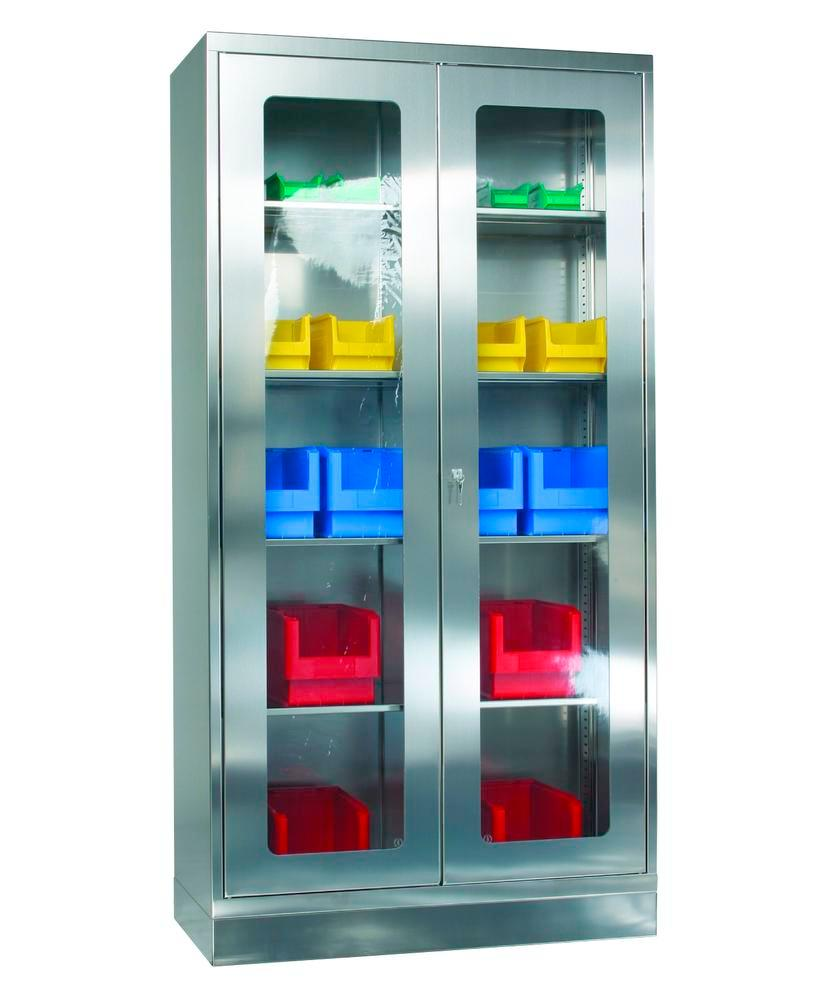 Stainless steel glass front cabinet with 4 shelves, W 1000, D 500, H 1950 mm