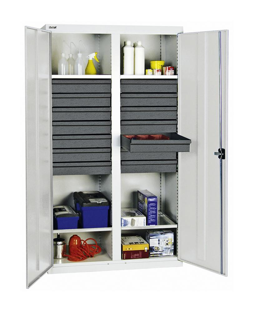 Tool and equipment cabinet Professional 3000, 14 drawers, 4 spill trays, grey, W 1000 mm