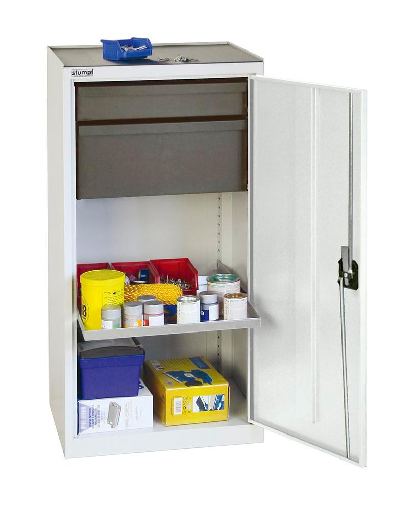 Tool and equipment cabinet Professional 3000, 2 drawers, 1 spill tray, grey, W 500 mm