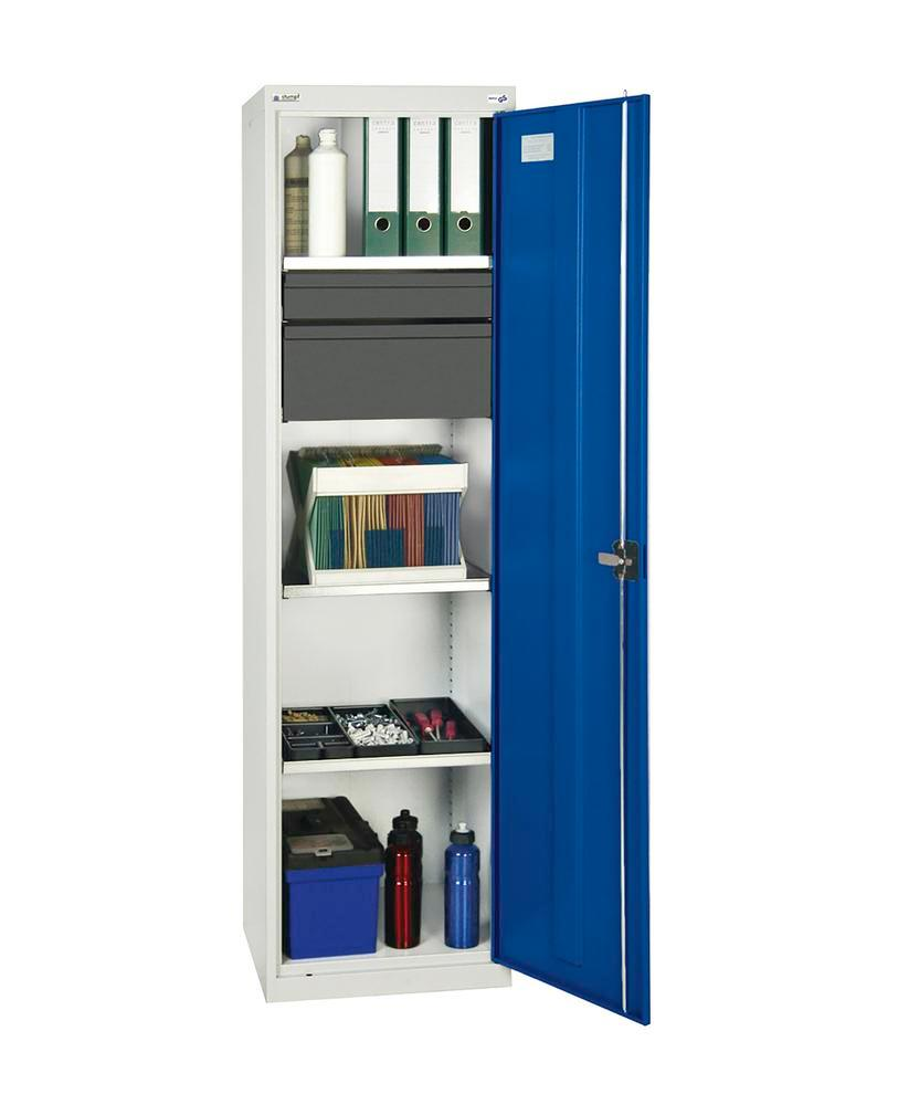 Tool and equipment cabinet Professional 3000, 2 drawers, 3 spill trays, grey/blue, W 500 mm