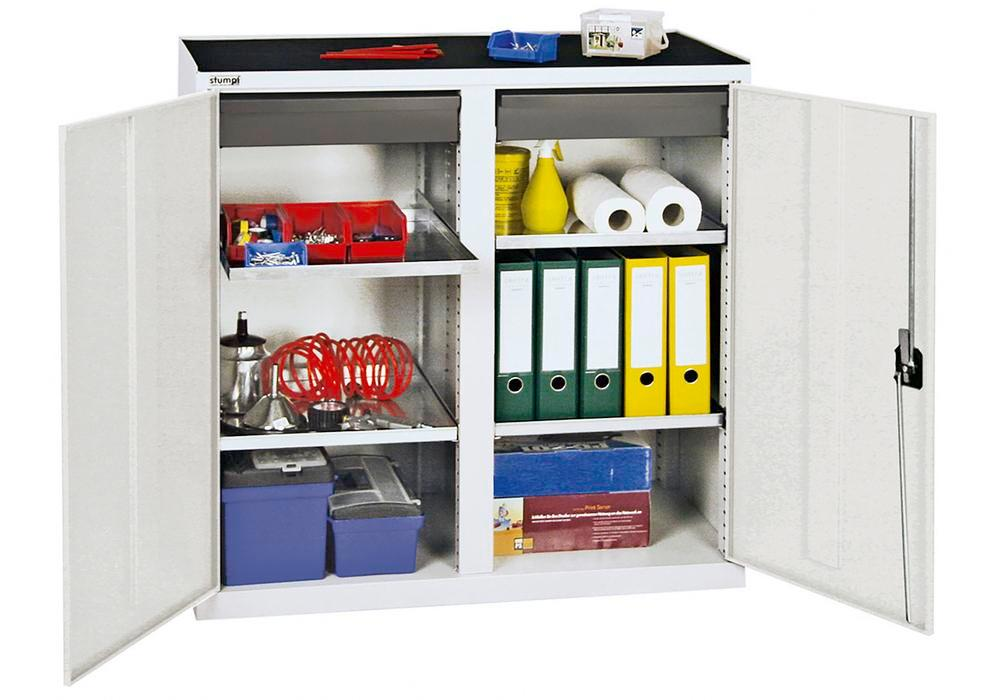 Tool and equipment cabinet Professional 3000, 2 drawers, 4 spill trays, grey, W 1000 mm